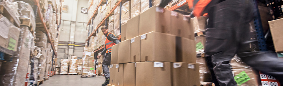 Boxes in warehouse illustrating supply chain issues
